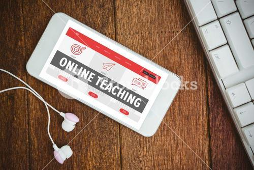 Composite image of online teaching interface