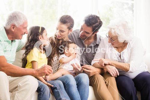 Happy extended family smiling