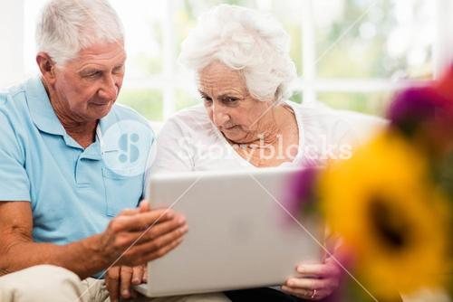 Focused senior couple using laptop