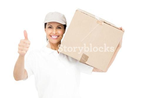 Delivery woman carrying a package and showing thumbs up