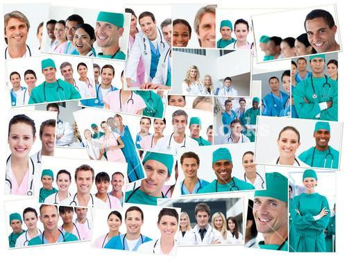 Doctors, nurses and surgeons posing
