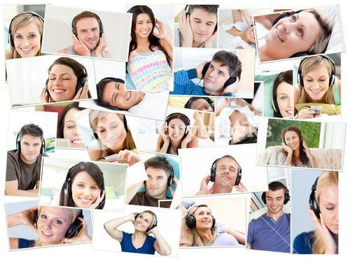 Collage of single people listening to music