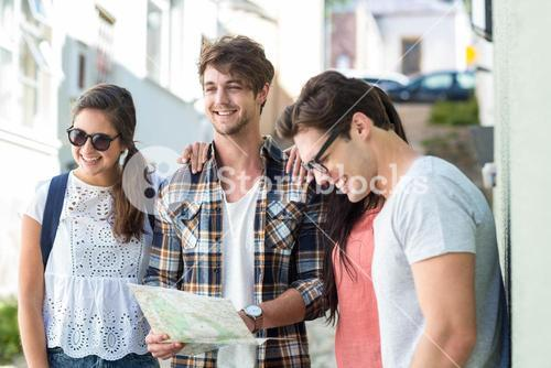 Hip friends checking map