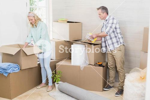 Mature couple moving out