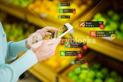 Composite image of food price tag