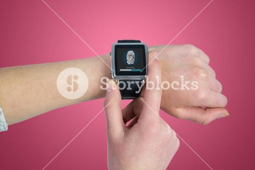 Composite image of woman using smartwatch
