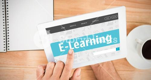 Composite image of e-learning interface