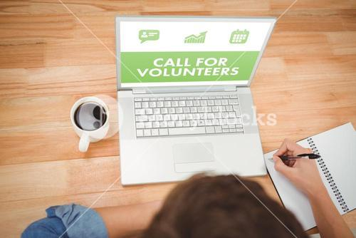 Composite image of green call for volunteers