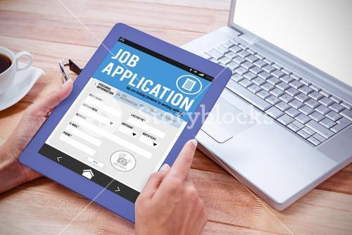 Composite image of job application on smartphone
