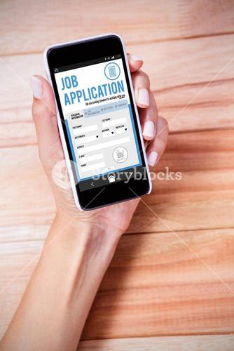 Composite image of telephone job application app