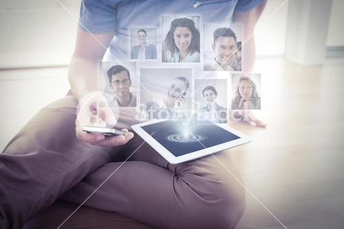 Composite image of portrait of business people