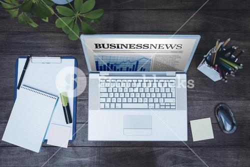 Composite image of view of a business desk