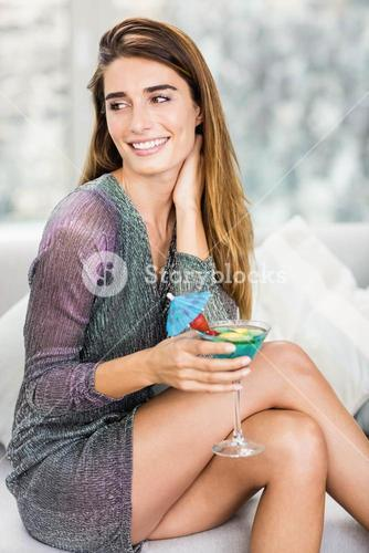 Close-up of beautiful woman having mocktail