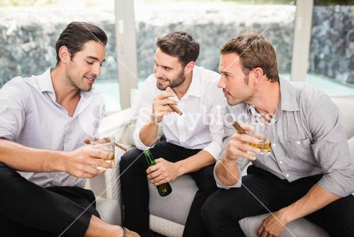 Group of men discussing