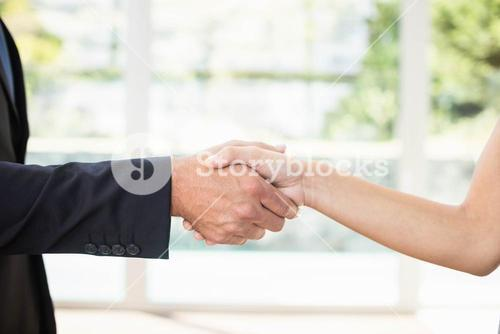 Real-estate agent shaking hands with client