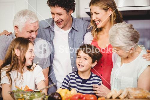 Happy family together in kitchen