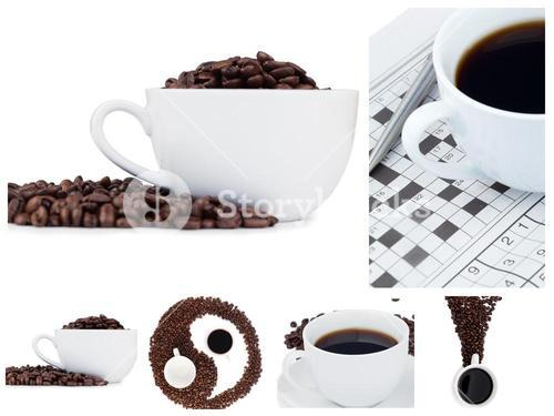 Coffee collage and ying yang symbol