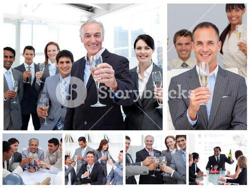 Collage of business people celebrating success