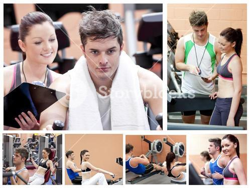 Collage of a couple doing exercises