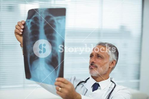 Doctor checking a x-ray report
