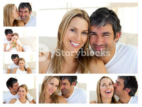 Collage of a middleaged couple enjoying the moment