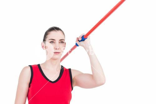 Female athlete throwing a javelin