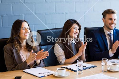 Businesspeople in conference room during meeting
