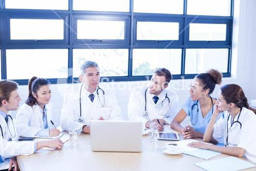 Medical team discussing in meeting
