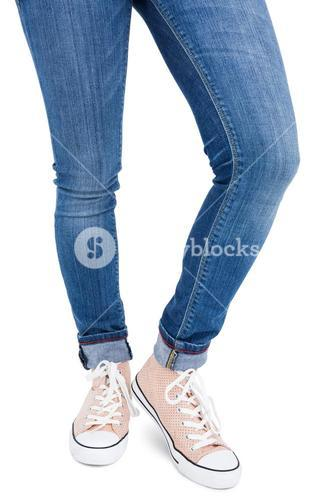 Woman wearing canvas shoes