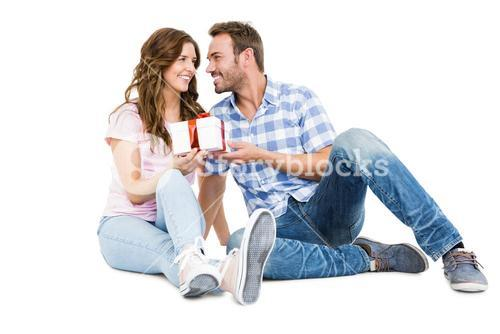 Man giving a gift to his woman
