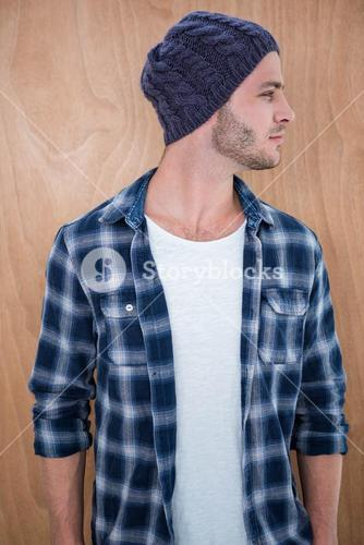 Handsome hipster wearing a beanie hat