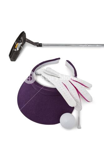 Close-up of various golf equipments