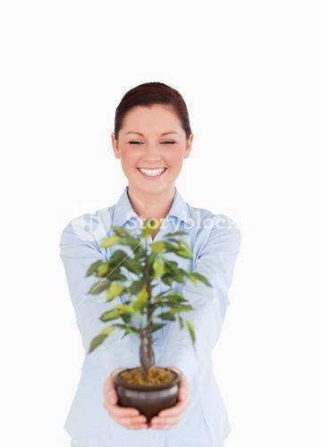 Attractive redhaired female holding a houseplant while standing