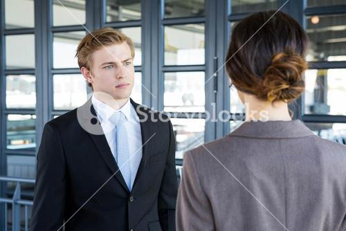 Businessman interacting with his business colleague