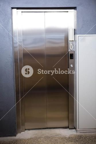 Modern elevator with closed door
