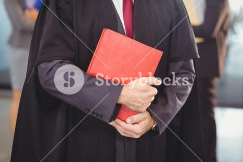 Lawyer holding a law book