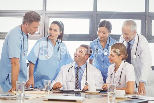 Medical team interacting in conference room