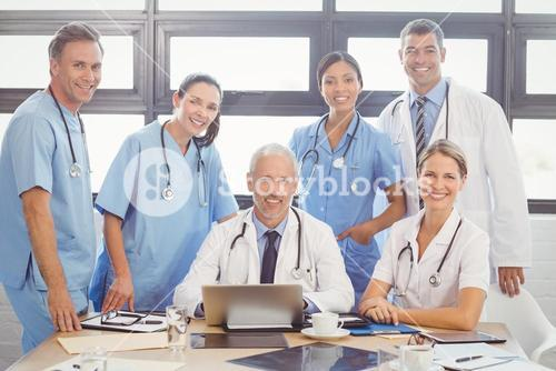Portrait of medical team in conference room