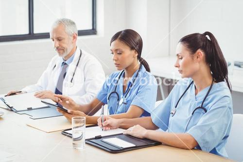 Medical team working in conference room