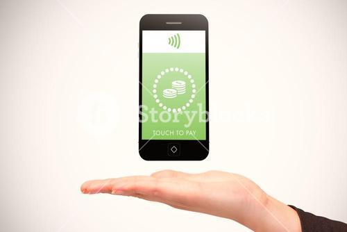 Composite image of hand showing phone