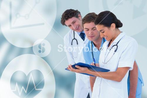 Composite image of happy doctors discussing on white background