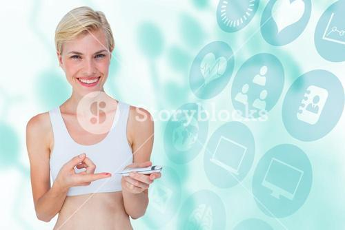 Composite image of attractive blonde woman doing test with blood glucose monitor