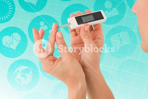 Composite image of diabetic woman using blood glucose monitor