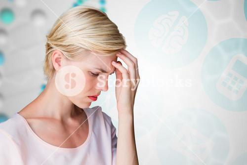 Composite image of nervous blonde woman
