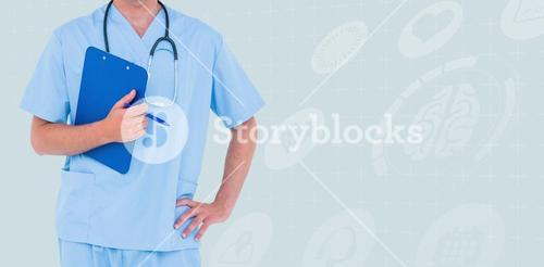 Composite image of male doctor holding clipboard and pen with hand on hip