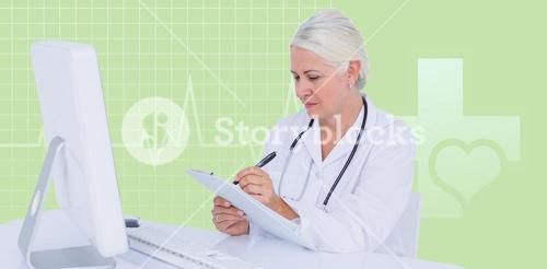 Composite image of female doctor writing on clipboard while sitting at desk