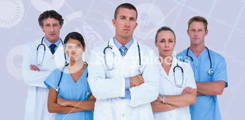 Composite image of portrait of serious doctors standing with arms crossed
