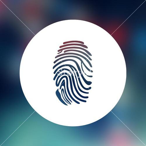Composite image of blue round with fingerprint