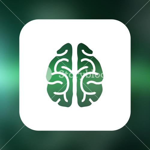 Composite image of brain with green background