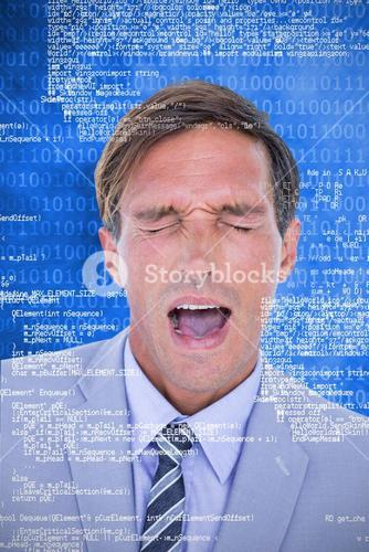 Composite image of  stressed businessman getting a headache
